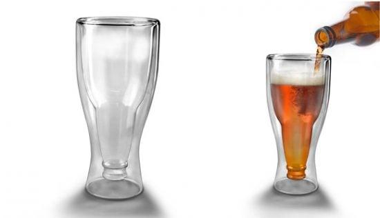 Upside Down Beer Bottle Glass