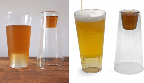 Pint Glass with Shot