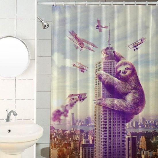 Slothzilla Shower Curtain 550x550 Jpg