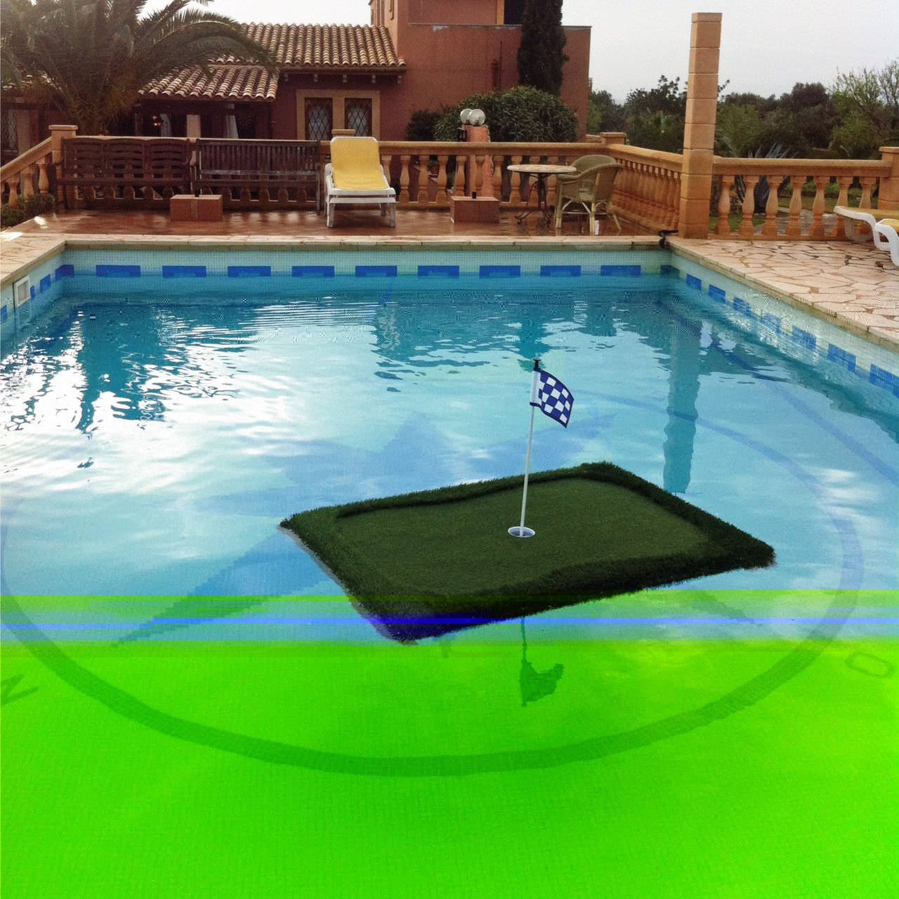 Floating golf greens awesome stuff to buy for Swimming pool accessories