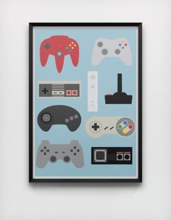 Retro Gaming Controllers Poster