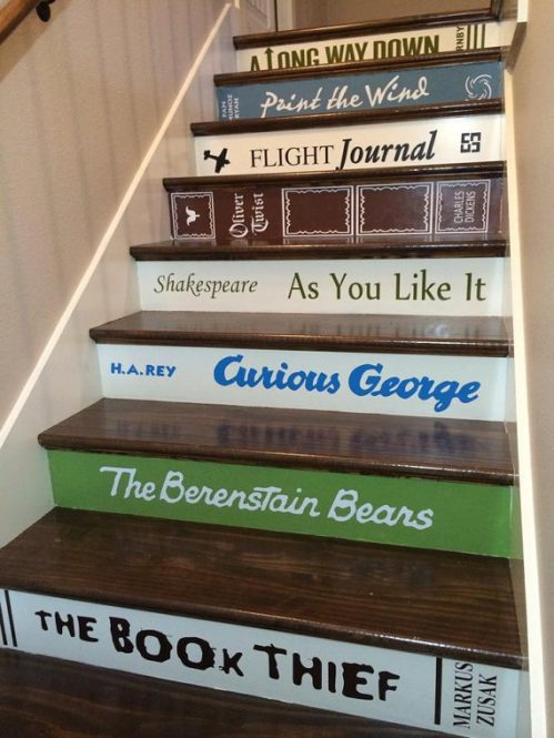 Vintage Book Decals for Stairs