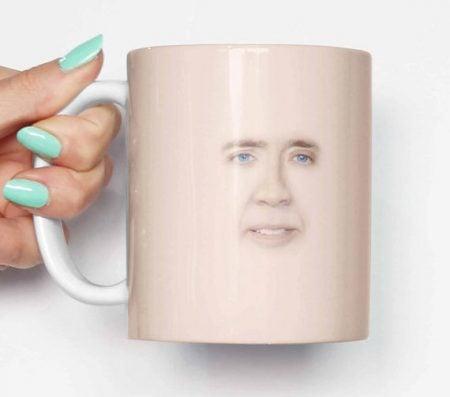 Nicolas Cage Face Mug
