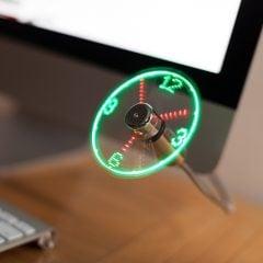 USB Fan with LED Clock