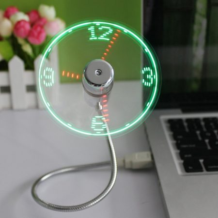 USB Fan with LED Clock