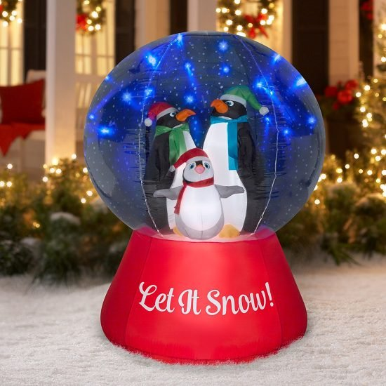 Inflatable Penguin Snow Globe for the Yard