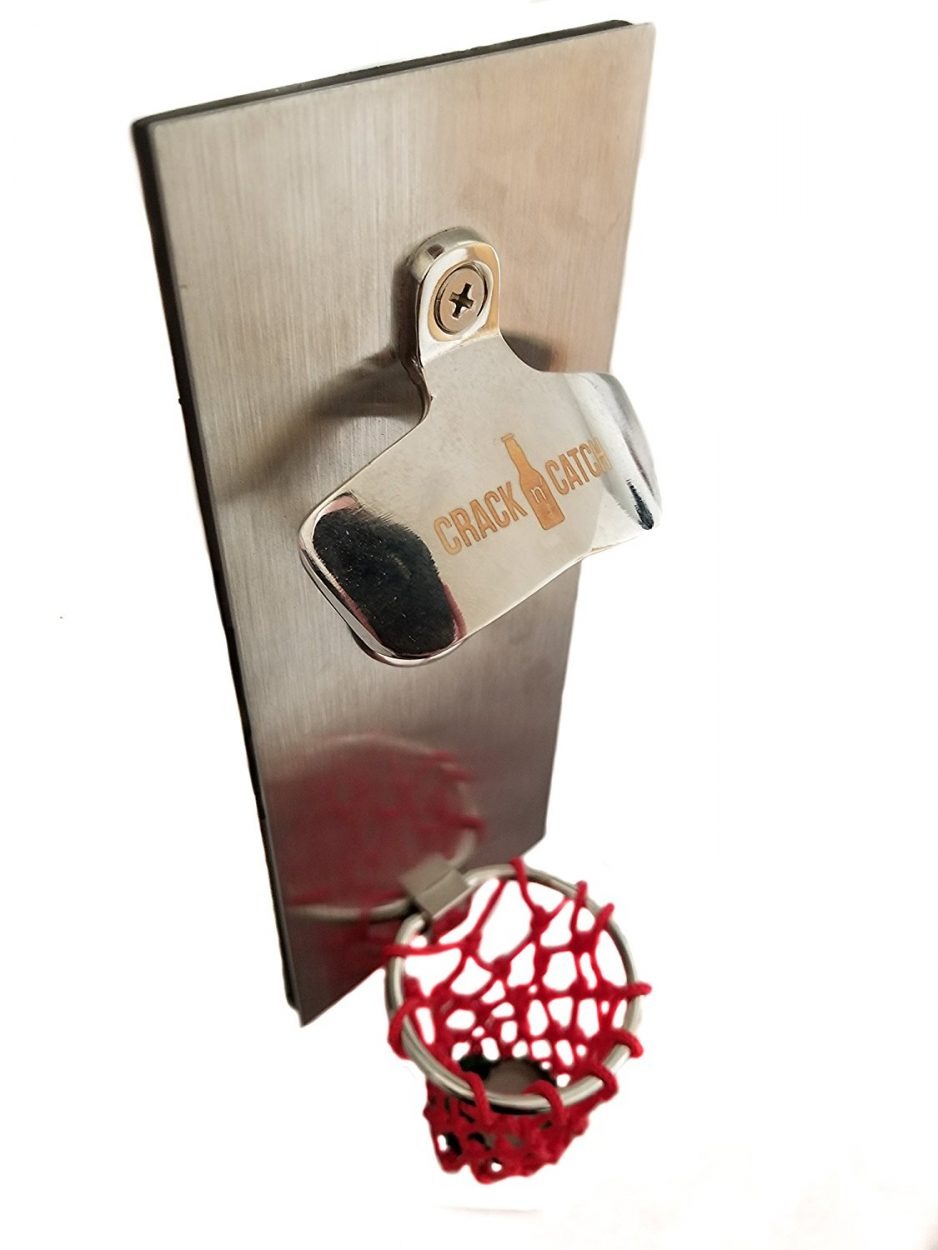 Magnetic Bottle Opener with Hoop Cap Catcher