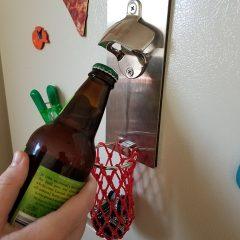 Magnetic Bottle Opener with Hoop Cap Catcher