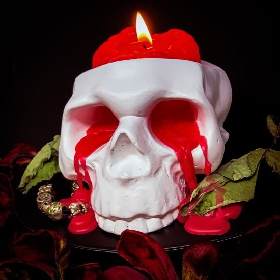 Crying Skull Candle Holder with Brain Candle