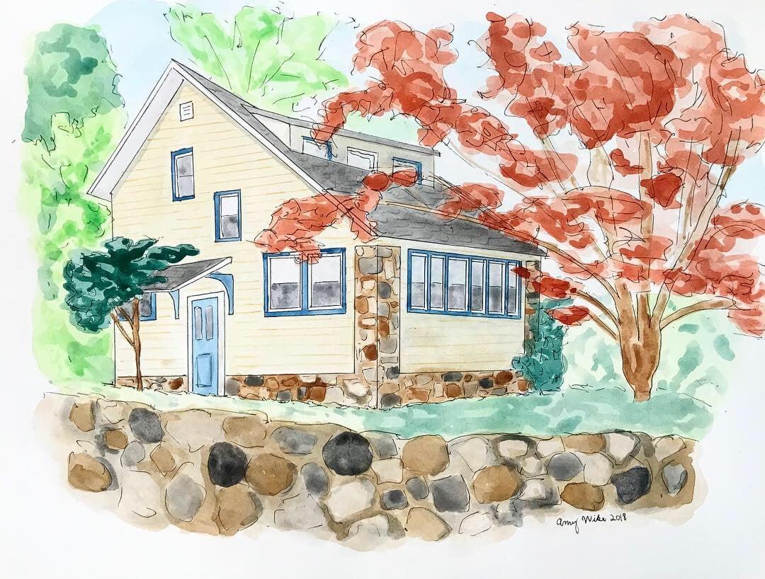Custom House Portrait Watercolor