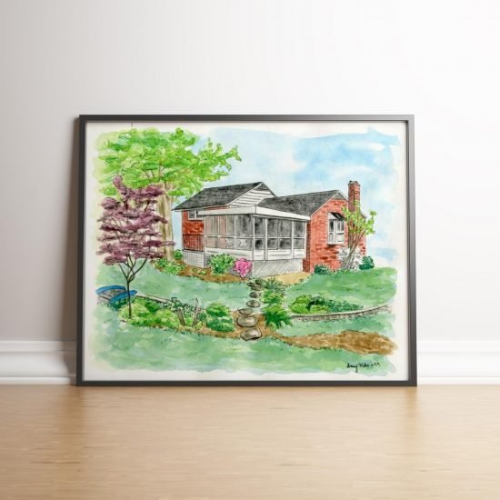 Custom House Portrait Watercolor