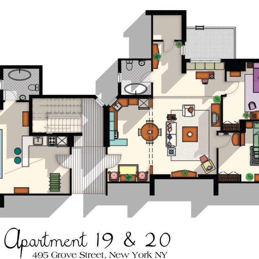 Friends Apartment Floor Plan Print