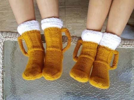 Beer Mug Knitted Socks
