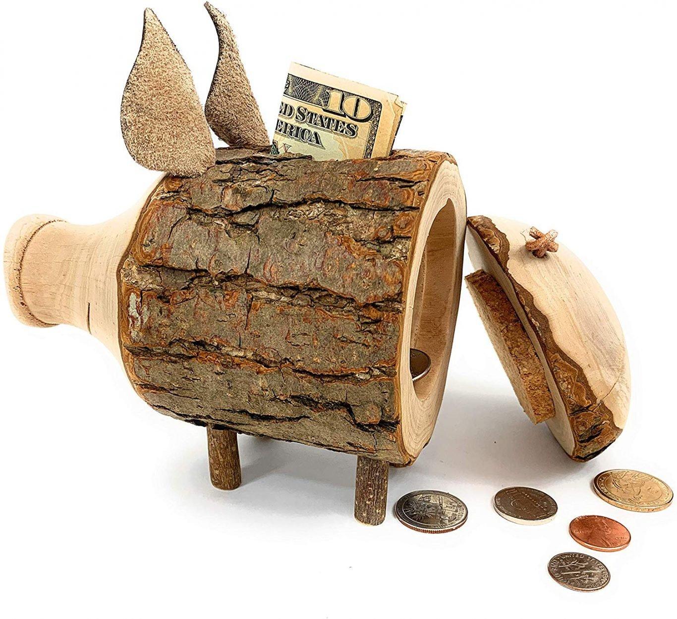 Handmade Wood Piggy Bank