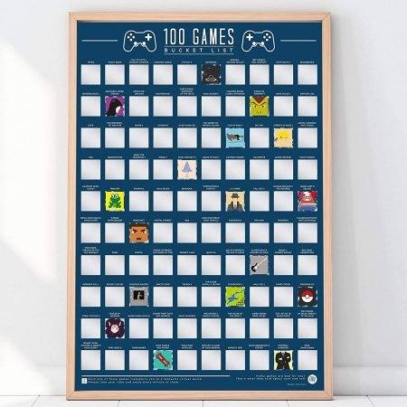 100 Bucket List Games Scratch-Off Poster