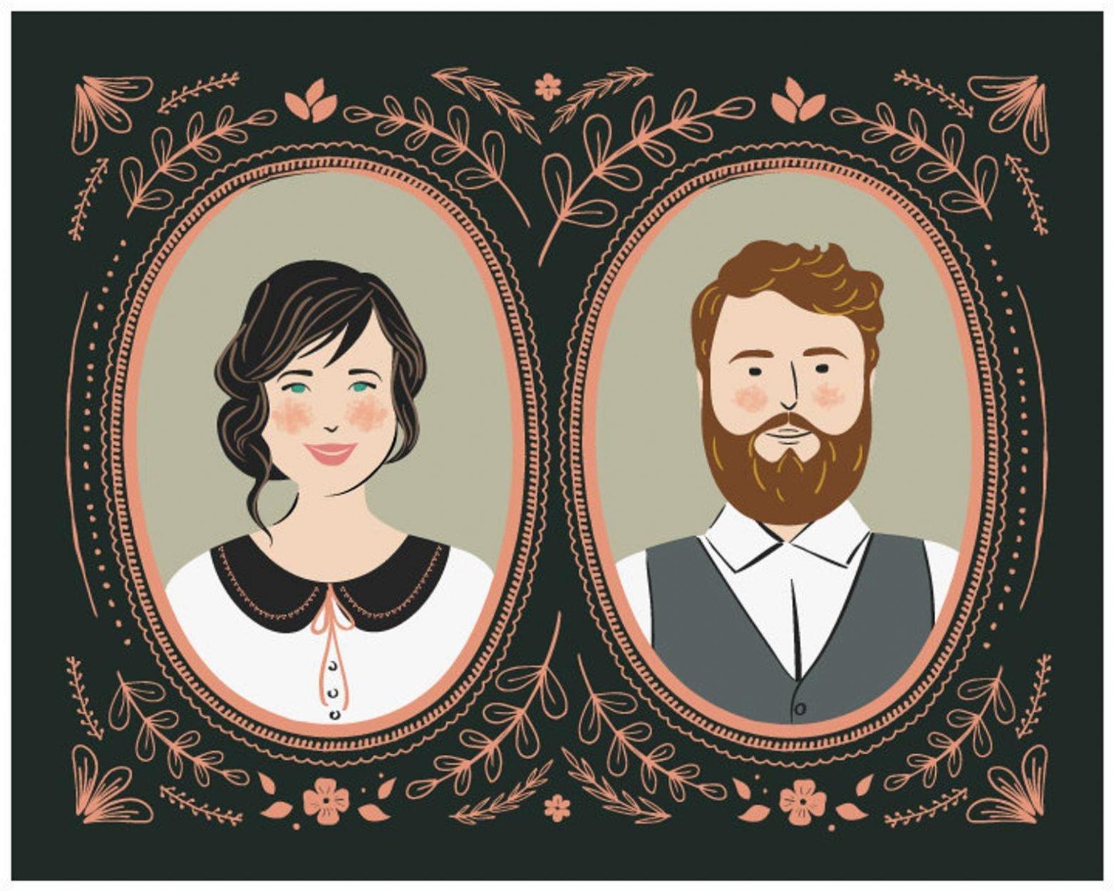 Personalized Cartoon Couples Portrait