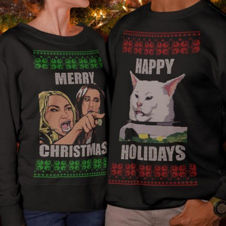 Yelling At Cat Meme Couples Sweater
